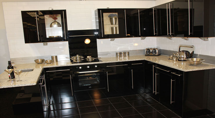 Stunning Black Glass Kitchen For Sale